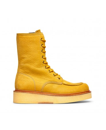 Barracuda yellow calfskin ankle boots